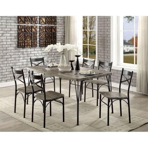 Furniture of America Hathway Industrial 7-piece Dark Bronze Dining Set