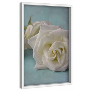 'The Original White Rose' Painting Print on Canvas with Shadow Box