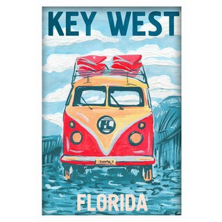 'Key West Bus' Painting Print on Canvas with Shadow Box