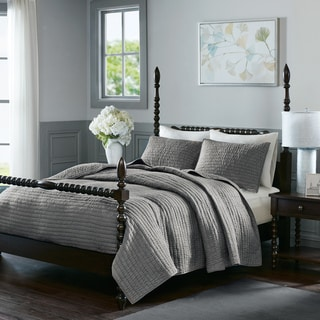 Madison Park Signature Serene Grey Cotton Quilted Coverlet Set
