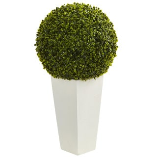 "Link to 28"" Boxwood Topiary Ball Artificial Plant in White Tower Planter (Indoor/Outdoor) Similar Items in Decorative Accessories"