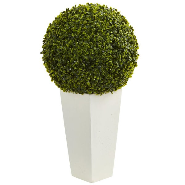 "28"" Boxwood Topiary Ball Artificial Plant in White Tower Planter (Indoor/Outdoor). Opens flyout."