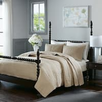 Madison Park Signature Serene Linen Cotton Hand Quilted Coverlet Set