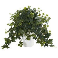 Puff Ivy Artificial Plant in White Tower Vase