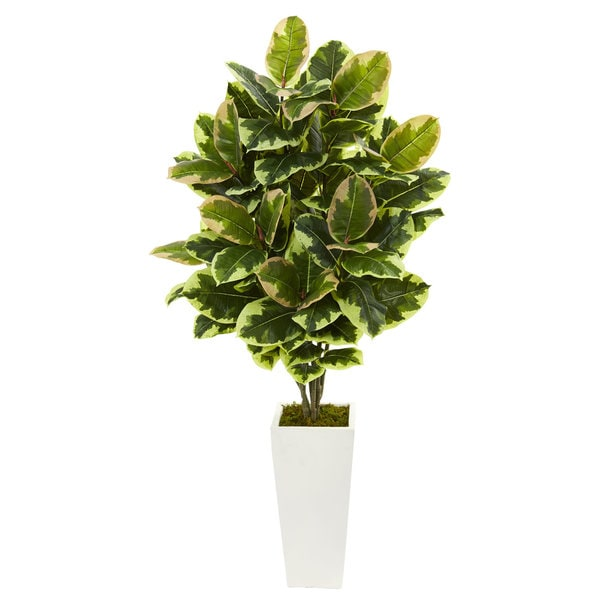 Variegated Rubber Leaf Artificial Plant in White Tower Vase