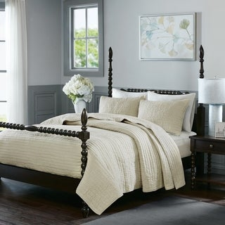 Madison Park Signature Serene Ivory Cotton Quilted Coverlet Set
