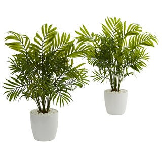 Palms in White Planter Artificial Plant (Set of 2)