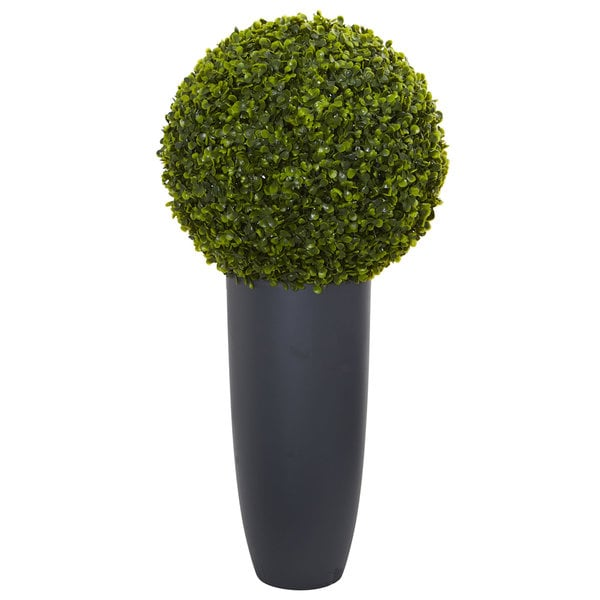 """30"""" Boxwood Artificial Topiary Plant in Gray Cylinder Planter (Indoor/Outdoor)"""
