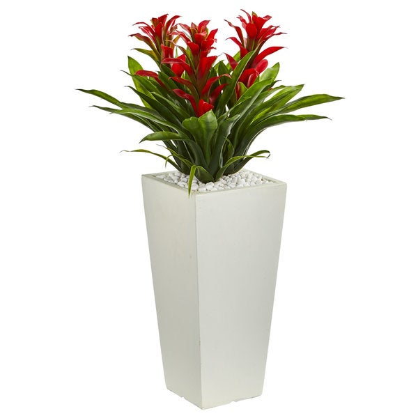 Triple Bromeliad Artificial Plant in White Tower Planter. Opens flyout.