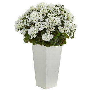 "Link to 27"" Geranium Artificial Plant in White Planter UV Resistant (Indoor/Outdoor) Similar Items in Decorative Accessories"