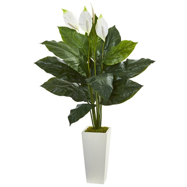 "51"" Spathifyllum Artificial Plant in White Tower Planter"