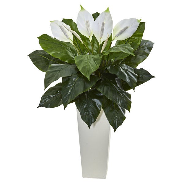 3' Spathifyllum Artificial Plant in White Tower Planter