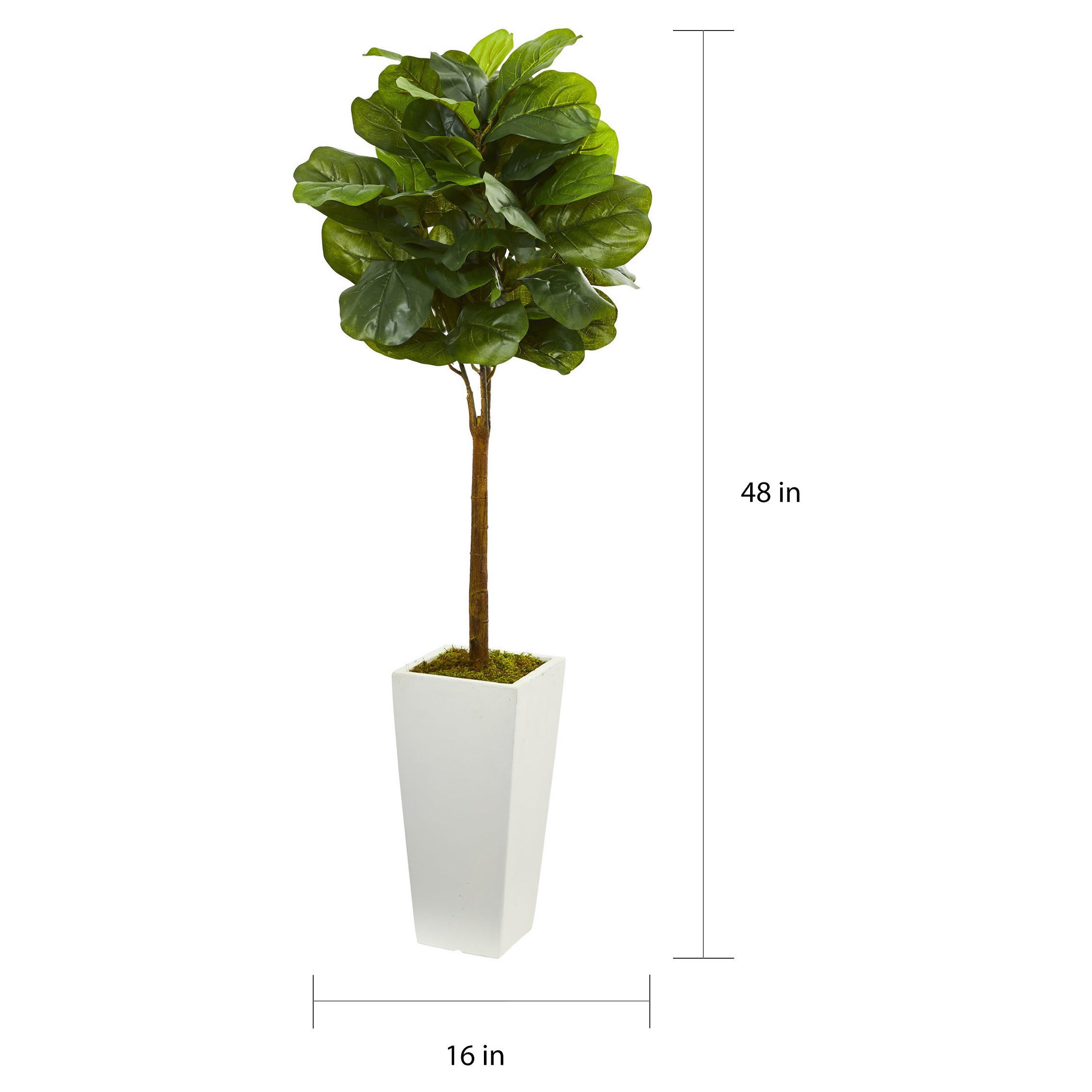 4 Fiddle Leaf Artificial Tree In White Tower Planter