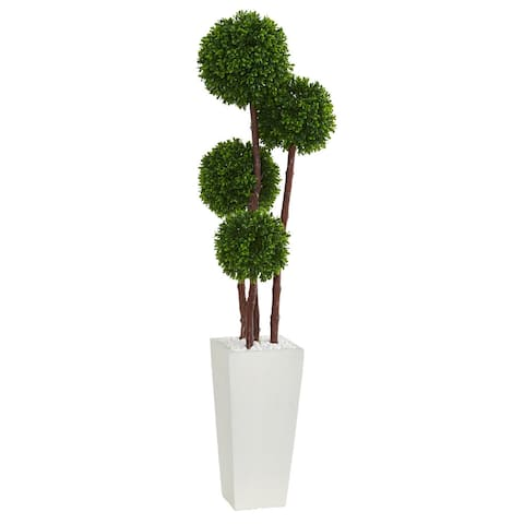 4' Boxwood Artificial Topiary Tree in Planter UV Resistant (Indoor/Outdoor)