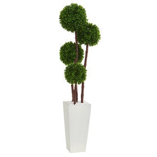 Link to 4' Boxwood Artificial Topiary Tree in Planter UV Resistant (Indoor/Outdoor) Similar Items in Decorative Accessories