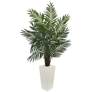 5.5' Areca Artificial Palm Tree in White Tower Planter