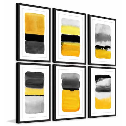 Marmont Hill - Handmade Yellow Transitions Hexaptych