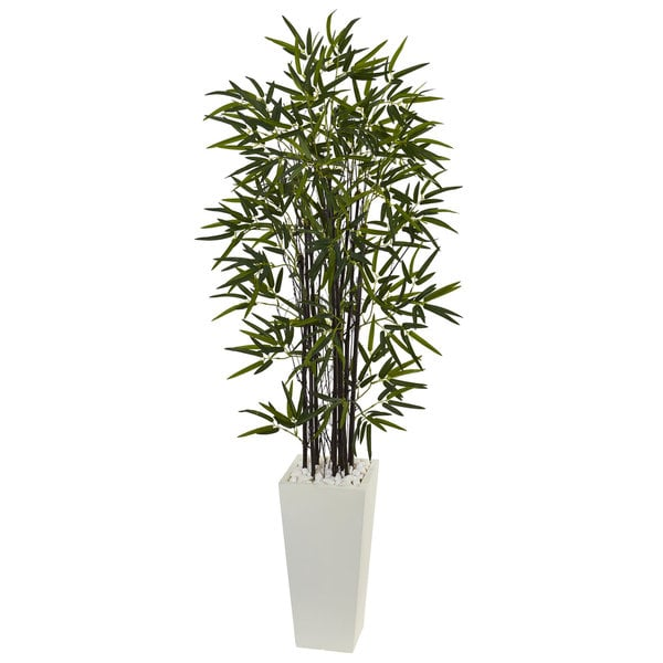 5.5' Black Bamboo Artificial Tree in White Tower Planter