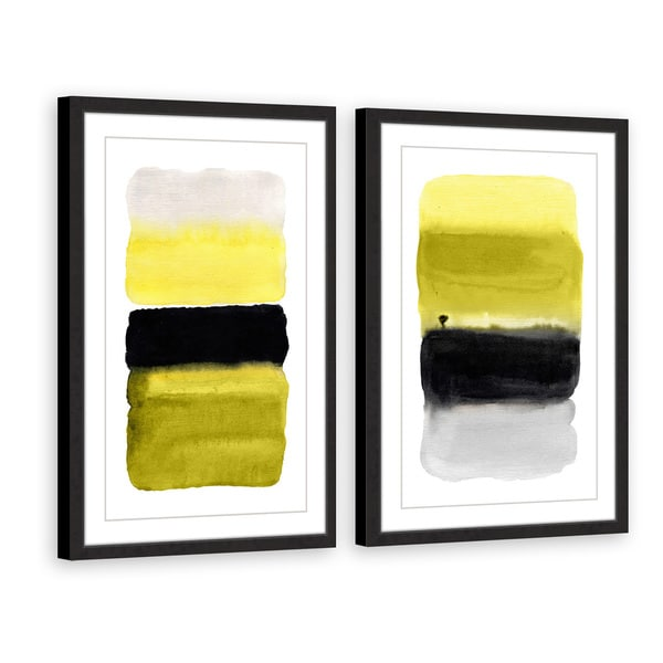 Black and Yellow Diptych - Multi-color