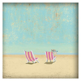 'Pink Chairs' Painting Print on Canvas with Shadow Box
