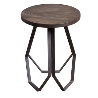 Brown Wood and Metal Geometric Base Round Side Table
