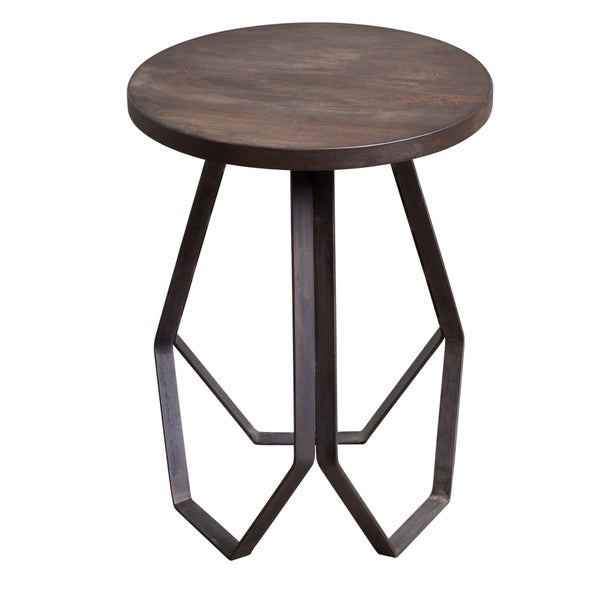 Brown Wood And Metal Geometric Base Round Side Table Free Shipping - Geometric base coffee table