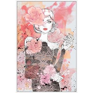Marmont Hill - Handmade Floral Girl Floater Framed Print on Canvas
