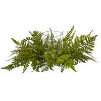 Mixed Fern Artificial Arrangement Candelabrum