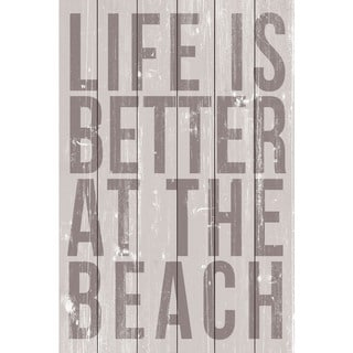 Marmont Hill - Handmade Life Is Better at the Beach Painting Print on White Wood