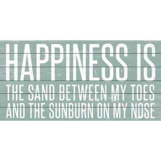 Marmont Hill - Handmade Happiness Is Sand Painting Print on White Wood