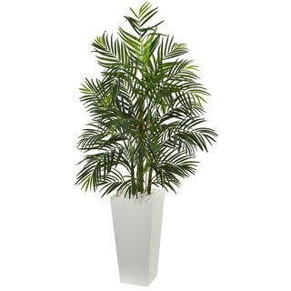 5' Areca Artificial Palm Tree in White Planter UV Resistant (Indoor/Outdoor)