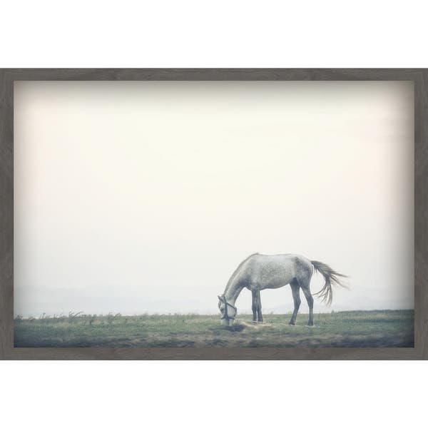 Marmont Hill Handmade Lone Horse Grazing Painting Print On Canvas With Shadow Box Overstock 18688426