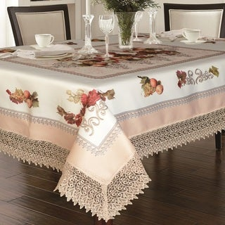Violet Linen Printed Fruttela Tablecloth With Lace Trimming