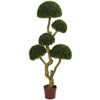 Nearly Natural Five Head Boxwood 5-foot UV-resistant Indoor/Outdoor Artificial Tree