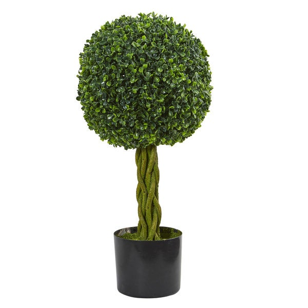 2' Boxwood Ball with Woven Trunk Artificial Tree UV Resistant (Indoor/Outdoor). Opens flyout.
