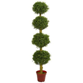 Outdoor Topiary Trees With Lights Topiary artificial plants for less overstock 6 four tier boxwood artificial topiary tree uv resistant indooroutdoor workwithnaturefo