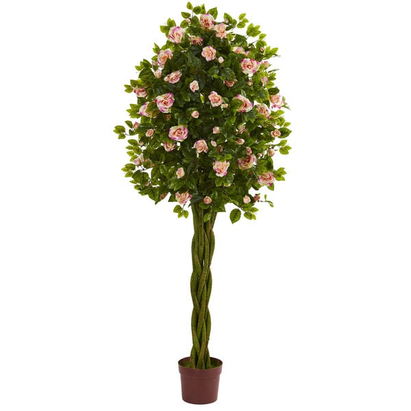 6' Rose Artificial Tree with Woven Trunk
