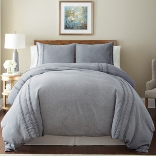 Amrapur Overseas Washed Linen 3-Piece Rich Duvet Set with Lace
