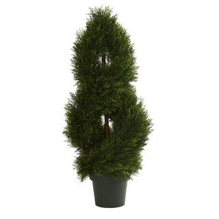Double Pond Cypress Spiral Artificial Topiary Tree UV Resistant (Indoor/Outdoor)