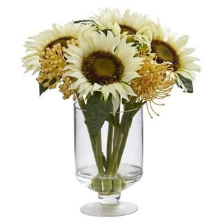 """12"""" Sunflower & Sedum Artificial Arrangement in Vase"""