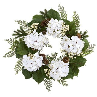 """24"""" Gold Trimmed Hydrangea and Berry Wreath"""
