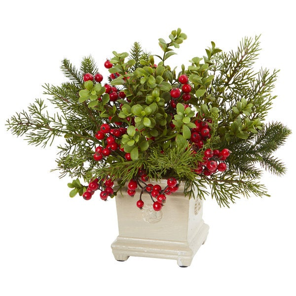 Holiday Berry and Pine Artificial Arrangement