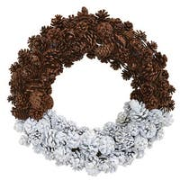 """20"""" Frosted Pine Cone Wreath"""