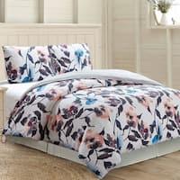 Amrapur Overseas Rosario 3-Piece 100-Percent Cotton Printed Duvet Set - White/Grey