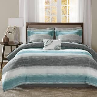 Madison Park Essentials Barret Aqua Complete Comforter and Cotton Sheet Set