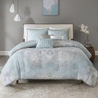Madison Park Joanna Seafoam 6-piece Reversible Cotton Sateen Duvet Cover Set