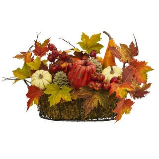 Pumpkin, Gourd, Berry and Maple Leaf Artificial Arrangement