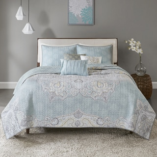 Madison Park Joanna Blue 6-piece Reversible Cotton Sateen Coverlet Set