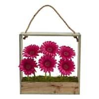 Gerber Daisy Garden Artificial Arrangement in Hanging Frame