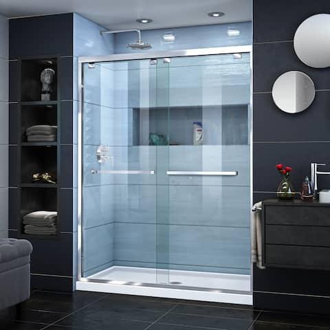 DreamLine Encore 34 in. D x 60 in. W x 78 3/4 in. H Semi-Frameless Bypass Sliding Shower Door and SlimLine Shower Base Kit